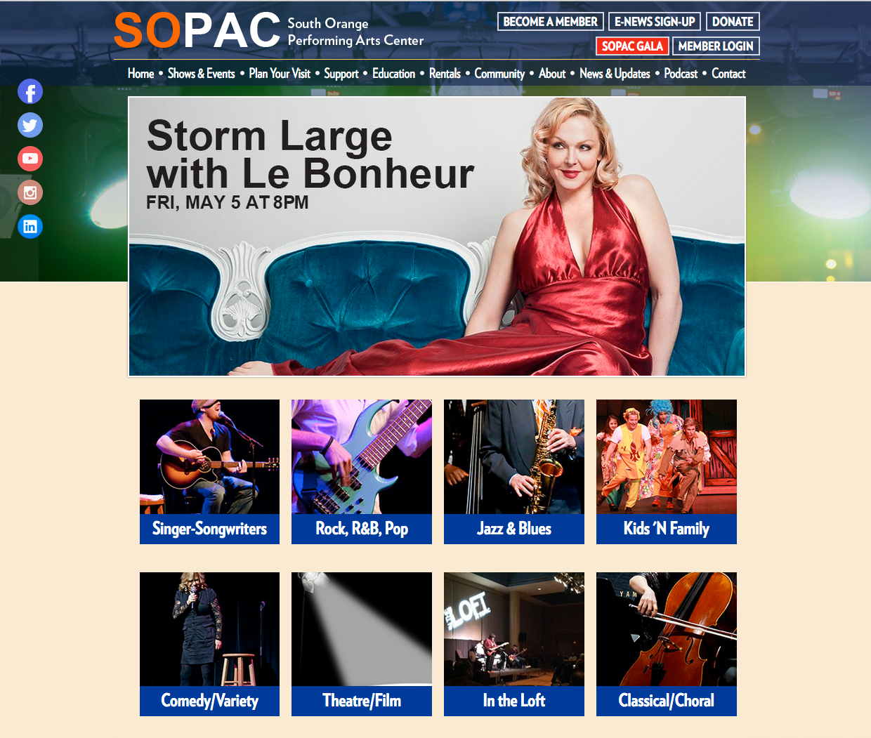 SOPAC Shows and Events page